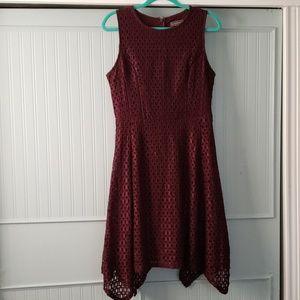 Wine Purple Luxology Sleeveless Midi Dress